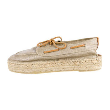Tory Burch Raffia Flatform Boat Shoes