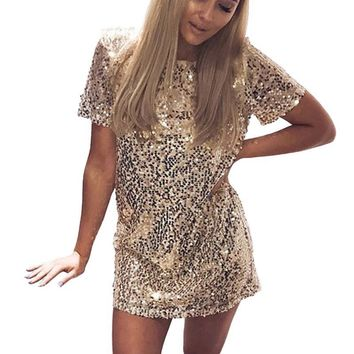 Sequins Gold Dress 2019 Summer Women Sexy Short T Shirt Dress Evening Party Elegant Club Dresses for Women Ladies Costume