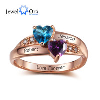 Rose Gold Plated Personalized Birthstone Heart Ring 925 Sterling Silver