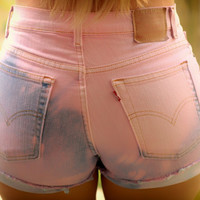Pastel Pink High waisted shorts by DardezLiberalFashion on Etsy