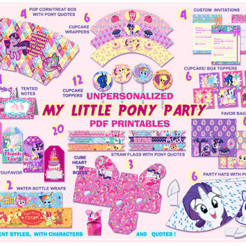 My Little Pony Party printables, Party decorations, party supplies,Pinkie pie, birthday party, kids party, quotes, labels,digital, paper PDF