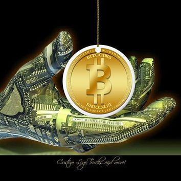 PERSONALIZED Bitcoin Ornament Porcelain Cryptocurrency Digital Coin Gifts Suncatcher Large Orders