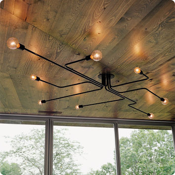 Retro industrial loft Nordic pipe Wrought Iron 4 heads 6 heads 8 heads ceiling light living room lustre lamp for home decor