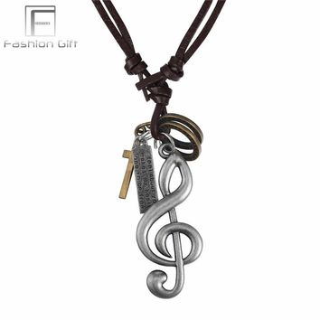 Fashion Men Necklaces Pendants Music Note Leather Chain Adjustable Size Punk Men Women Jewelry