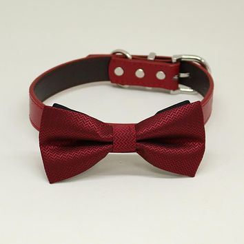 Red Dog Bow Tie Collar, Red leather dog collar,Handmade