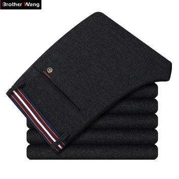 Brother Wang 2018 New Men's Brand Casual Pants Fashion Waist Hit Color Brushed Slim Elastic Business Office Pants Trousers M301