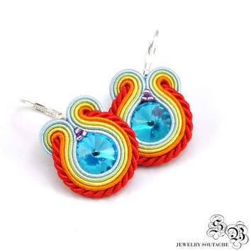 Colorful Soutache Earrings, Small Dangle Earrings, Dangle Soutache Earrings, Colorful Earrings, Colorful Small Earrings, Soutache Earrings