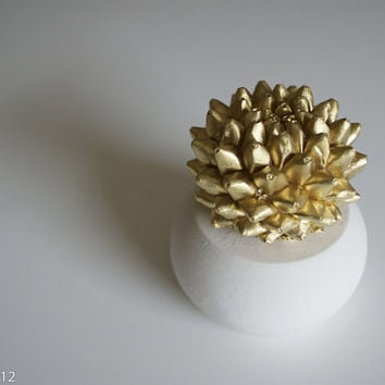 Cactus Sculpture in White Modern Round Container, Tabletop Centerpiece, Desktop Accessory