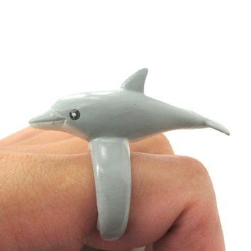 3D Dolphin Figurine Shaped Animal Wrap Ring for Kids | US Size 4 to size 6