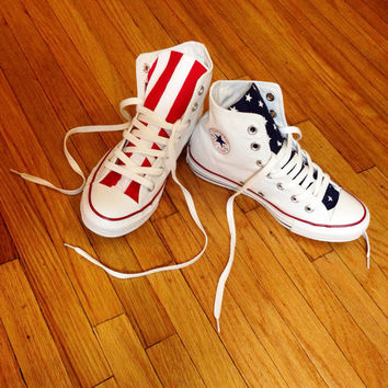 Reconstructed High Top Converse with Custom American Flag Design 4TH OF JULY
