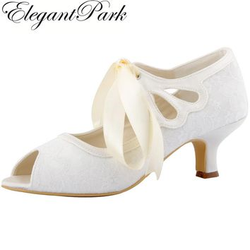 HP1522 Woman White Ivory Peep Toe Mary Jane Lace Lady Prom Party Pumps Mid Heel RibbonTie Bride Bridesmaid Wedding Bridal Shoes