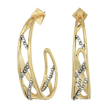 Alexis Bittar Crystal Encrusted Plaid Hoop Earrings