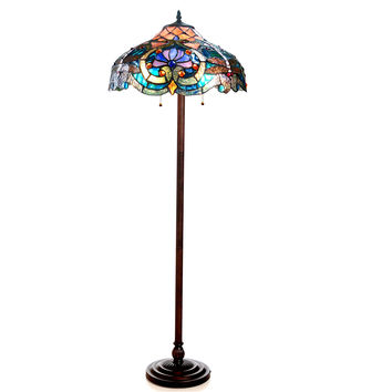 "LYDIA Tiffany-style 2 Light Victorian Floor Lamp 17"" Shade"