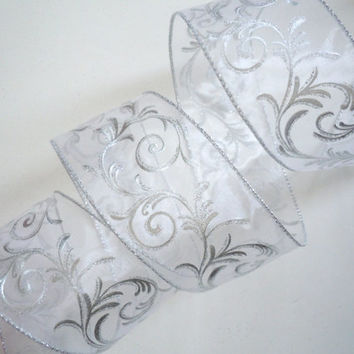 "Silver Filigree on White Sheer Wired Ribbon Swirls Silver White Wired Ribbon 2.5"" 5yd - Bow Scrapbooking Wedding decorations Bridal Shower"