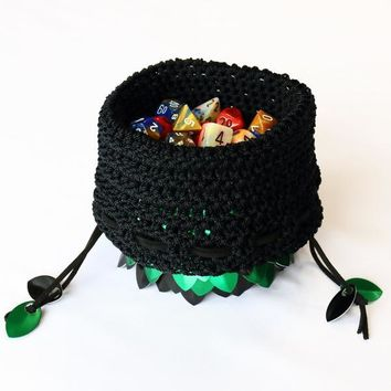 Crochet Scalemail Dice Bag (Green/Black)