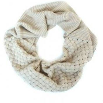 Autumn Serenity Lattice Weave Infinity Scarf in Beige   Sincerely Sweet Boutique