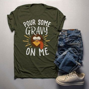 Men's Funny Thanksgiving T Shirt Pour Gravy On Me Turkey Graphic Tee Cute Shirts