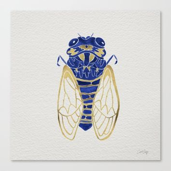 Cicada – Navy & Gold Canvas Print by Cat Coquillette