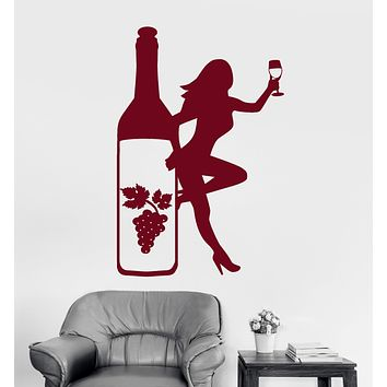 Vinyl Wall Decal Bottle Glass Wine Grapes Sexy Girl Alcohol Stickers (2162ig)