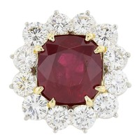 10.33 Carat GIA Cert Thailand Ruby Diamond Platinum Ring