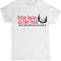 Little Boy's T-Shirt or Baby Onesuit Rifles Racks and Deer Tracks Two Color