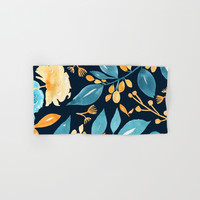 Teal and Golden Floral Hand & Bath Towel by noondaydesign