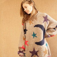 vintage 90s STAR moon grunge SLOUCHY warm sweater