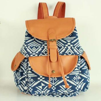 Blue Aztec Travel Bag Canvas Lightweight College Backpack