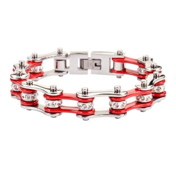 Red Silver Stainless Steel Racing Chain Bracelet