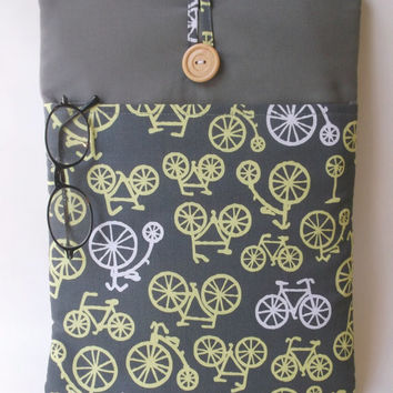 Bicycle Macbook Air 13 Case Cord Pocket, Mac Book air 13. 3 inch Sleeve, Yellow Laptop Bag, Gray Padded Tablet Cover, Cycles Bikes Cycling