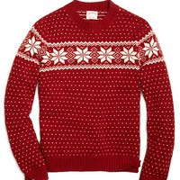 Snowflake Fair Isle Crewneck Sweater - Brooks Brothers