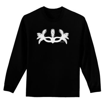 Masquerade Mask Silhouette Adult Long Sleeve Dark T-Shirt by TooLoud