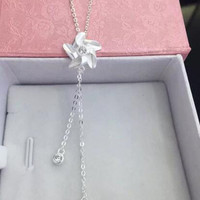 Womens 925 Sterling Silver 3D Flower Pendant Necklace Girls Superior Quality Christmas Necklace Gift 99