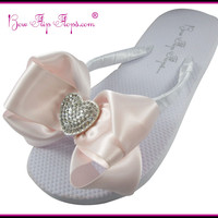 Flip Flops White Womens Wedding Rhinestone Satin Bow Flip Flops Heart Sandals Shoes Beach Wedding Ladies Girls