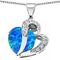 Star K Heart Shape 12mm Blue Simulated Opal Pendant