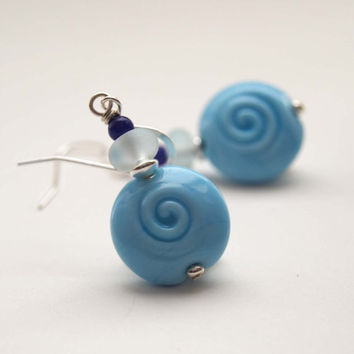 Light Blue Earrings, Lampwork Glass Earrings, Sprial Earrings, Beaded Earrings