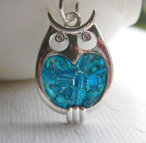 Stained Glass Owl Charm Necklace, Blue Owl Necklace