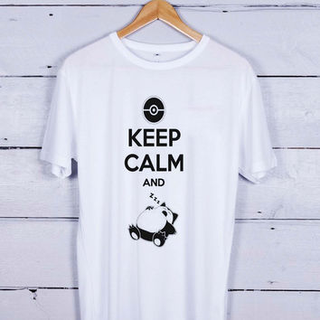Keep Calm and Zzz Snorlax Pokemon White Tshirt T-shirt Tees Tee Men Women Unisex Adults