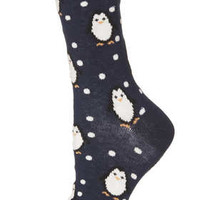 NAVY PENGUIN PINSPOT ANKLE SOCKS