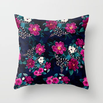 Snakes and Flowers Throw Pillow by emeliaa