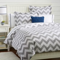 Chevron Duvet Cover, Full/Queen, Light Gray