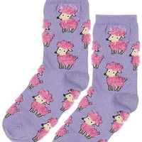 All-Over Fluffy Poodle Socks - Purple