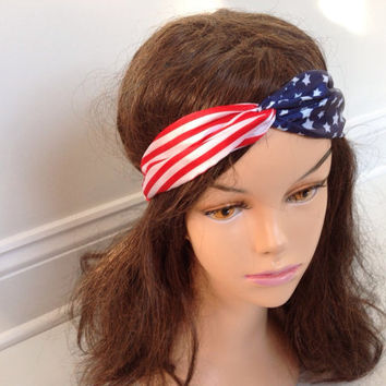 American Flag Headband, USA Hair Band, Red White and Blue July 4th Fashion Accessory, American Flag Turban