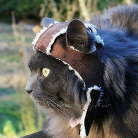 Aviator Cat Hat  Sherpa Suede Cat Hat by ToScarboroughFair on Etsy