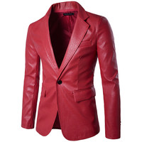 Red PU Leather Dress Blazers Men 2017 Brand New Wedding Party Mens Suit Jacket Casual Slim Motorcycle Faux Leather Suit Homme