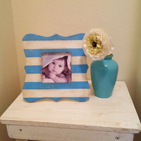 Blue and White Stripe Picture Frame