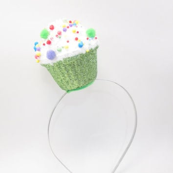 Green Cupcake Fascinator - Whimsical Baby Shower Photo Prop - Birthday Party - funny hat - Mom to be - Gender Reveal Party