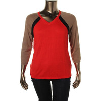 Jones New York Womens Petites Colorblock Raglan Sleeves Pullover Sweater