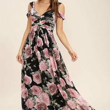 Give Me Amore Black and Pink Floral Print Maxi Dress