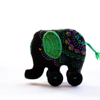 handmade elephant with button wheels and crochet ears, elephant keepsake, elephant on wheels, UK seller